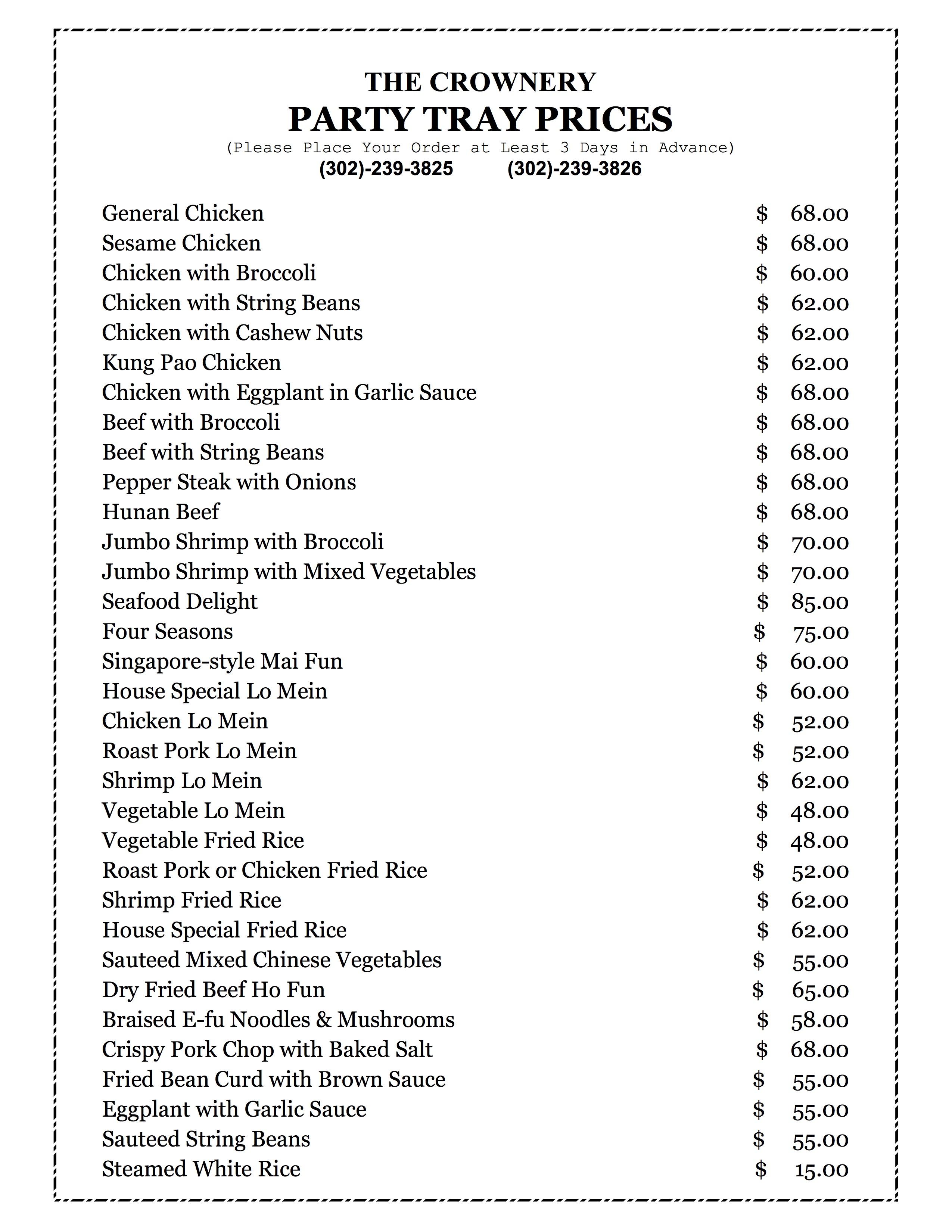 View Printable Menu Catering